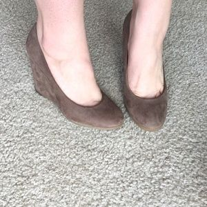BCBGeneration taupe suede wedges